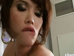 Charming t-girl have fun with a male