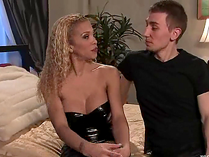 Hot ladyboy Jessica Host makes Kyle suck and ride her cock